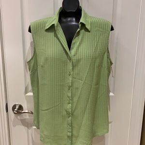 Soft spring green sleeveless blouse